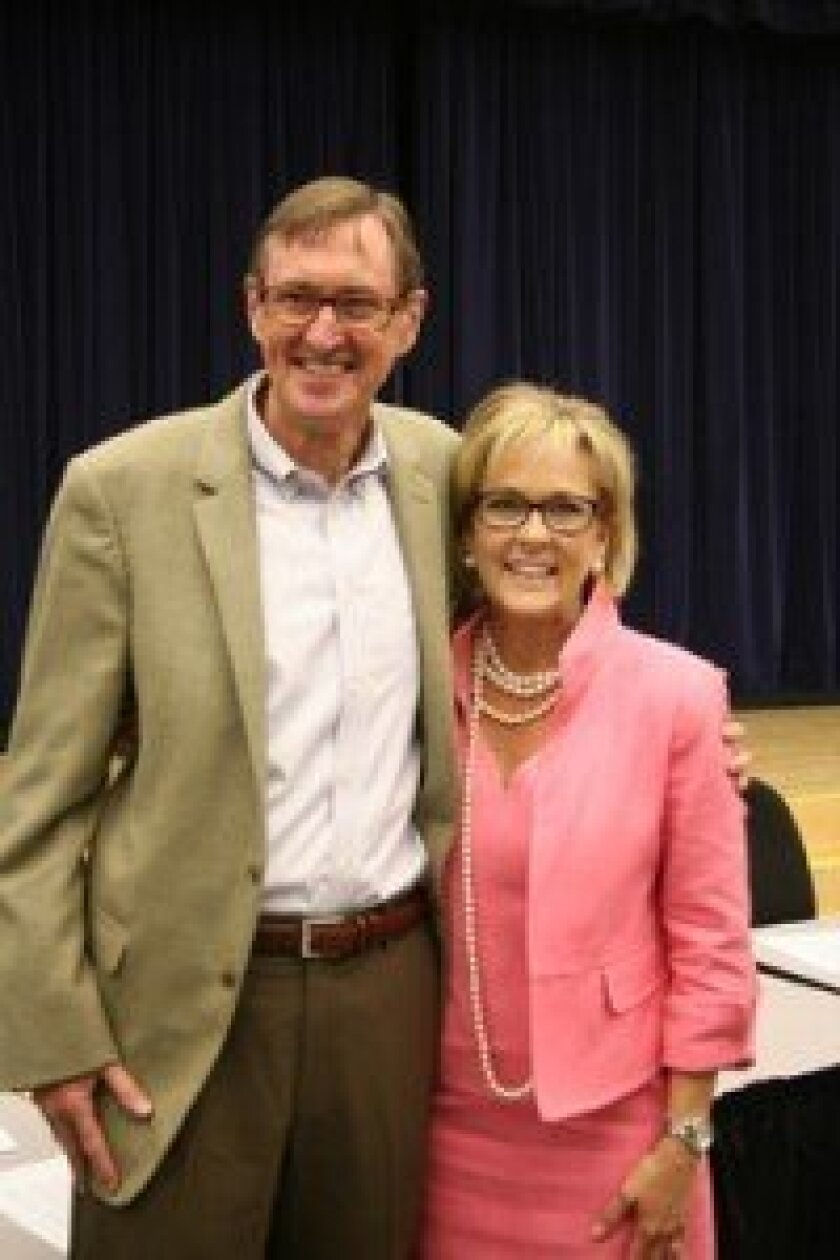 New DMUSD Superintendent Holly McClurg with outgoing Superintendent Jim Peabody. Photo/Karen Billing