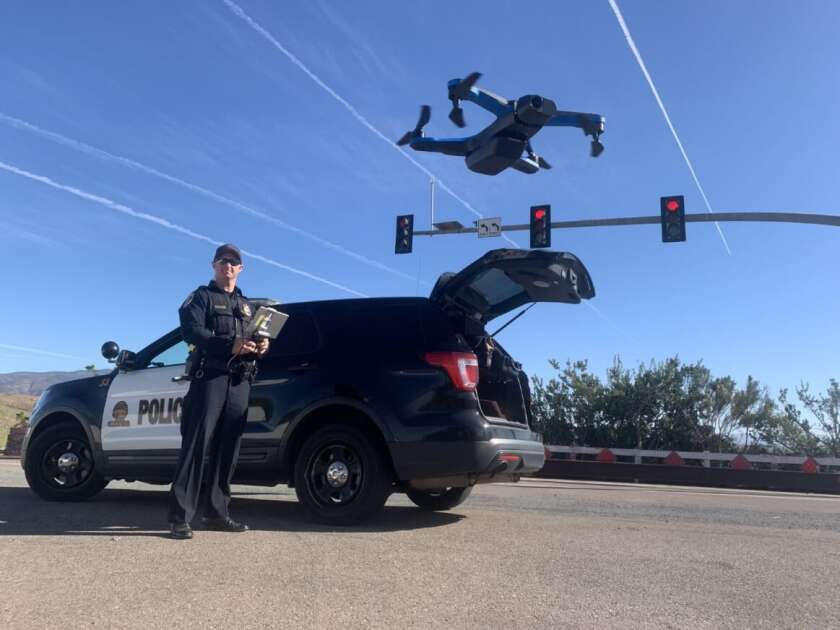 Chula Vista police Officer Christopher Bearss pilots a drone.