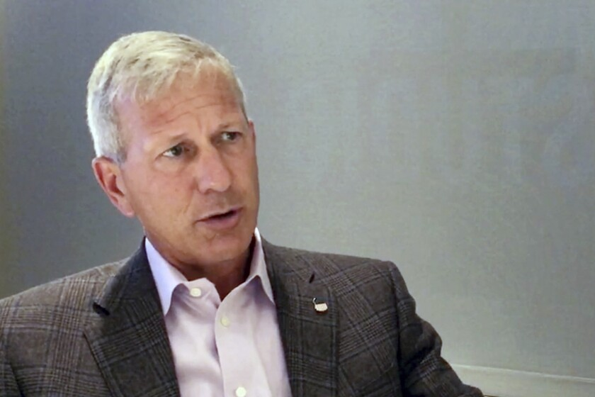 In this image from video, Union Pacific CEO Lance Fritz speaks during an interview at the company's headquarters in Omaha, Neb., on Thursday, Sept. 9, 2021. During his time as Union Pacific's CEO, Fritz has had to find ways to keep the freight moving during the coronavirus pandemic as the economy nearly ground to a halt and then roared back to life. Now he is working to help clear up a major backlog in imported shipments. (AP Photo)