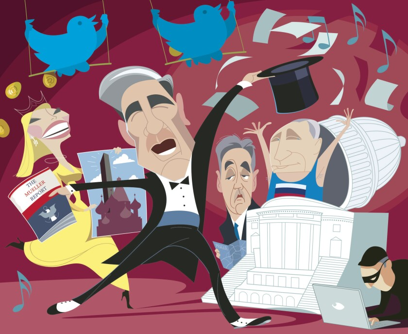Illustration to go with Mary McNamara column on the satirical ?Mueller, the Musical?. Illustration b