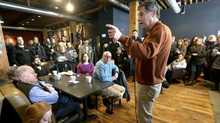 Sen. Sherrod Brown, an Ohio Democrat who is weighing a presidential bid, speaks during a meet and greet on Saturday at Inspire Cafe in Dubuque, Iowa.