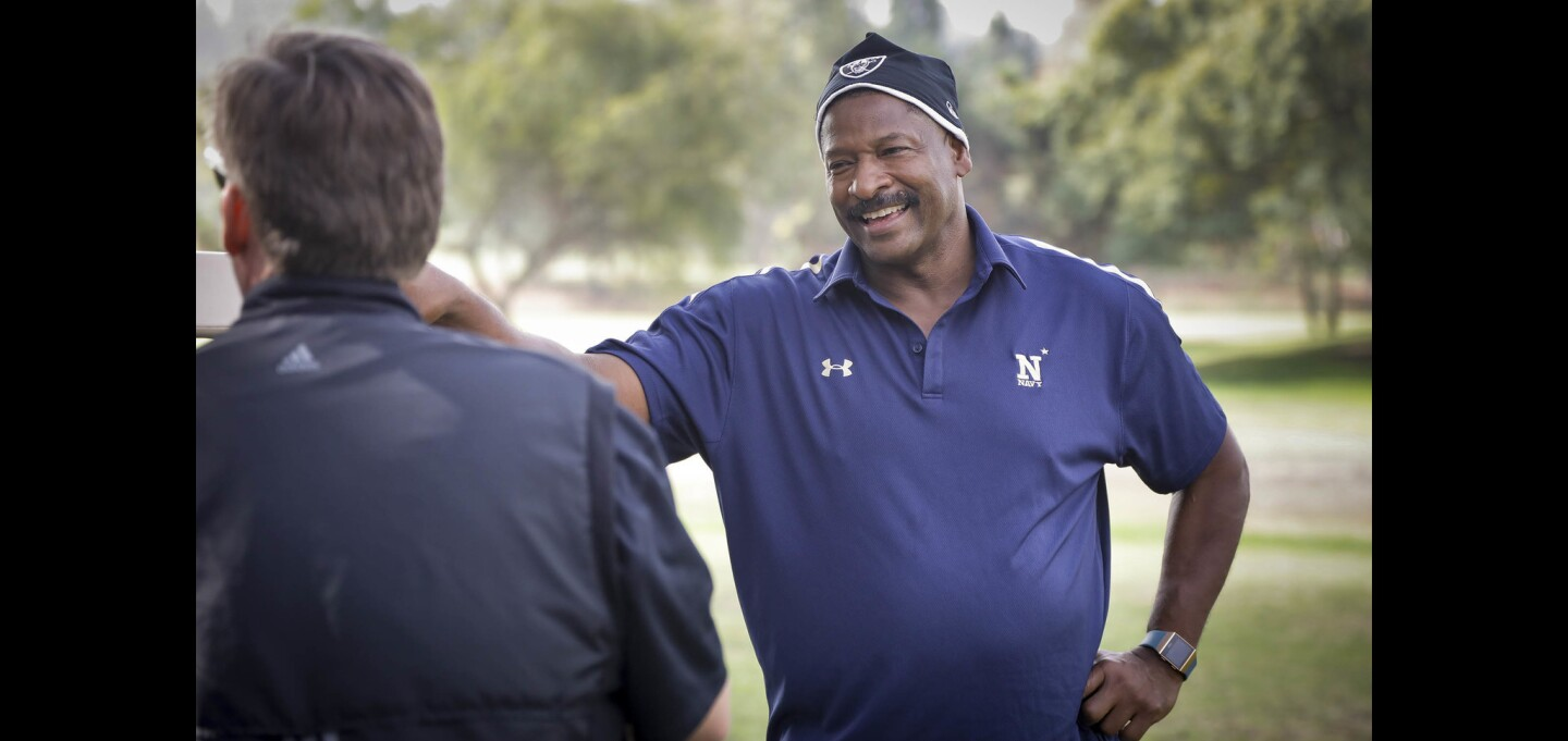 Napoleon  McCallum, former Raider and Naval Academy football star comes to San Diego