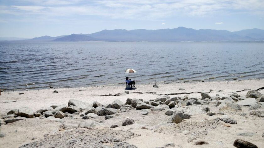 Ed Victoria of Los Angeles sits under an umbrella as he fishes for tilapia along the receding banks of the Salton Sea near Bombay Beach, Calif. The lake is shrinking and on the verge of getting smaller as more water goes to coastal cities.