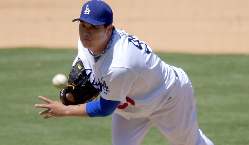 Dodgers starting pitcher Hyun-Jin Ryu improved to 10-5 with a 3.44 earned-run average after pitching six scoreless innings against the Padres on Sunday.
