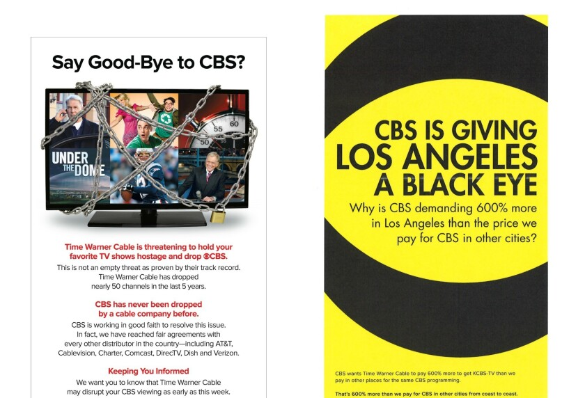 CBS and Time Warner Cable are taking shots at each other in the media.