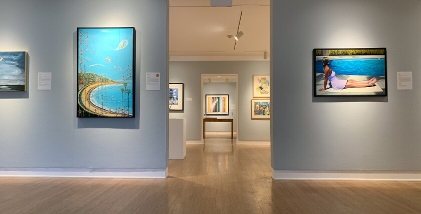 Artwork for the 2020 California Cool Art Auction at the Laguna Art Museum is being displayed. This will be the museum's 38th annual benefit art auction and is what the museum claims is the longest-running benefit auctions in Southern California.
