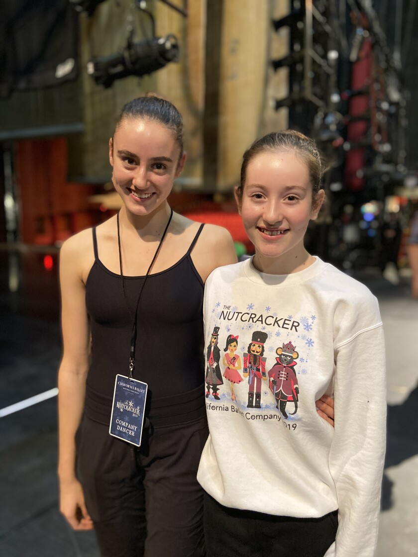 "Cousins Haley Parsons and Neta Sánchez of Carmel Valley and Del Mar will dance in the California Ballet Company's ""Nutcracker""."