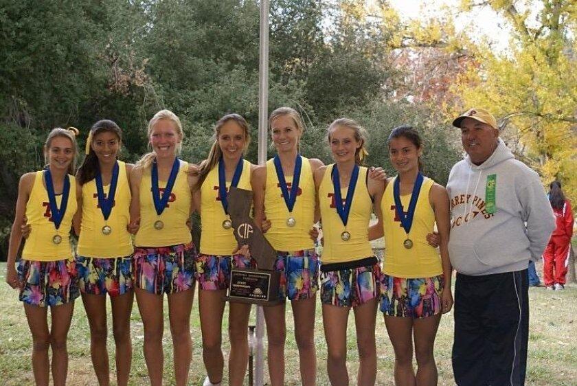 2009 state championship team (from left) Kelsey O'Connell, Ashlyn Dadkhah, Soffe Watson, Tori Casella, Megan Morgan, Alli Billmeyer, Rachel Hiraoka, coach Brent Thorne