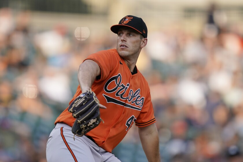 Baltimore Orioles starting pitcher John Means throws during the sixth inning of a baseball game against the Detroit Tigers, Saturday, July 31, 2021, in Detroit. (AP Photo/Carlos Osorio)