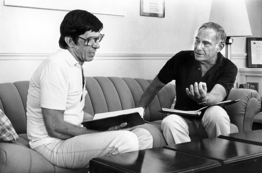 """Star Trek III: The Search for Spock"" director Leonard Nimoy, left, with producer Harve Bennett."
