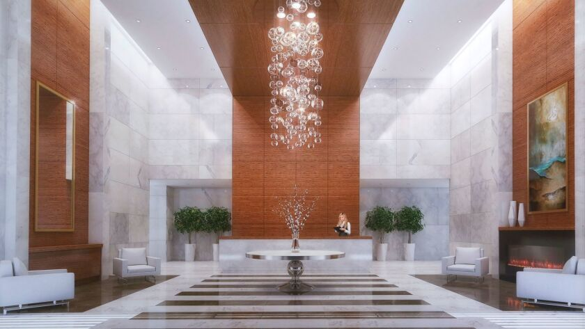 A rendering of 41 West's lobby.