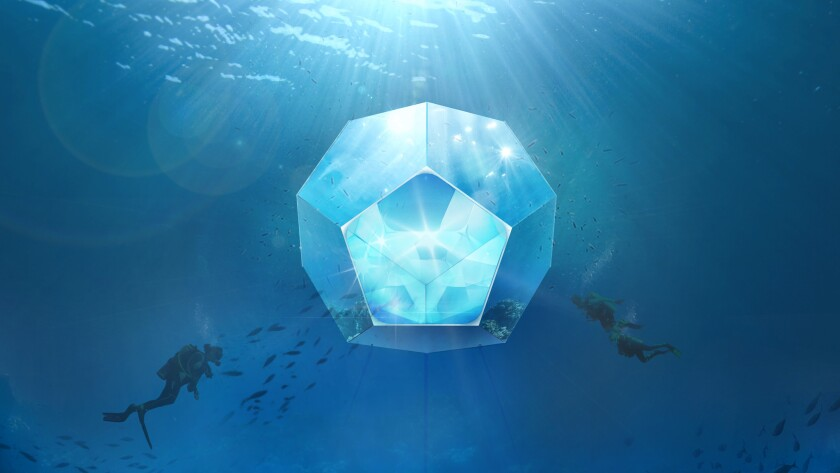 A rendering of one of Doug Aitken's underwater pavilions presented by Parley for the Oceans and the Museum of Contemporary Art.