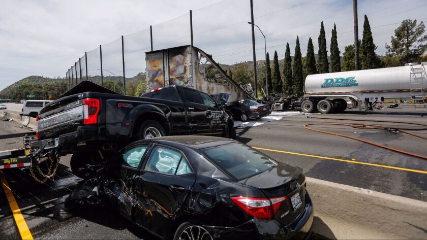 The Golden State (5) Freeway was shut down late Tuesday morning after a fatal multivehicle collision closed both lanes of traffic.