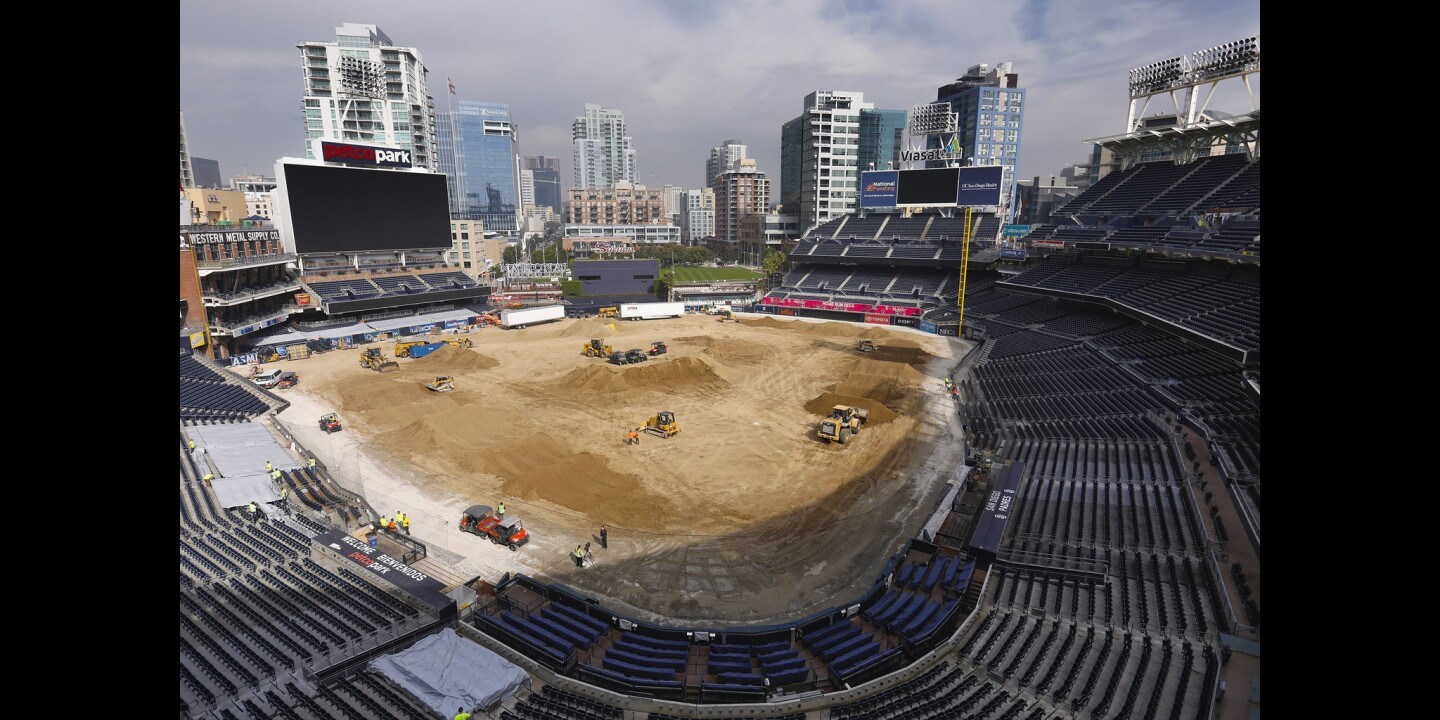 26 million pounds of dirt being dumped on the baseball field at Petco Park, is being turned into a racetrack for the Monster Energy Supercross, Saturday, February 2. Padres fans need not worry about the field. After the supercross is over, a new field will be installed, and ready for the 2019 season.