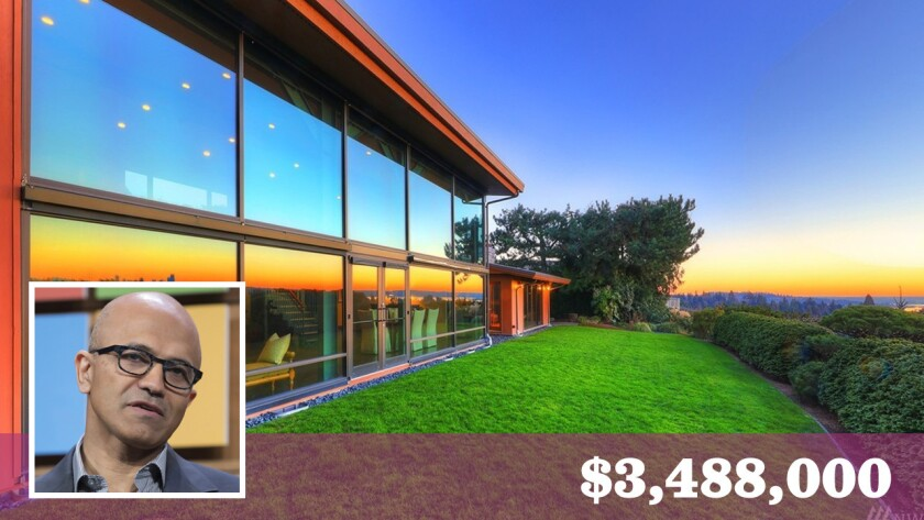 Microsoft Chief Executive Satya Nadella has put his home in Clyde Hills, Wash., on the market for $3.488 million.
