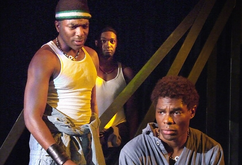 """""""The Brothers Size"""" by Tarell Alvin McCarney has its L.A. premiere at the Fountain Theatre with, from left, Gilbert Glenn Brown, Theodore Perkins and Matthew Hancock."""