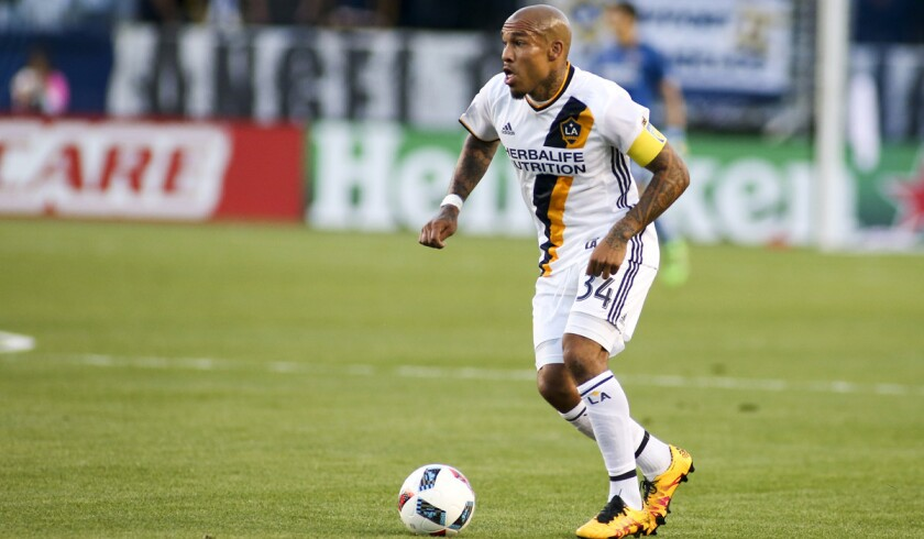 Nigel de Jong is seen in action against the Portland Timbers on April 10.