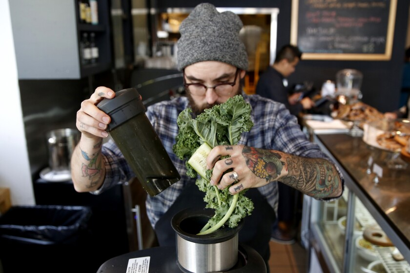 Green juice prepared by chef Nick Erven, at Erven restaurant in Santa Monica.