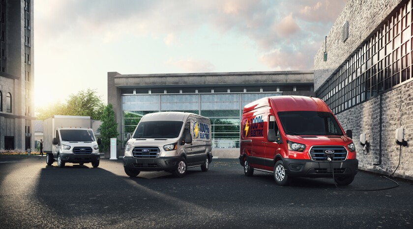 Ford's all-electric E-Transit commercial vans will be offered in several configurations, including the three above.