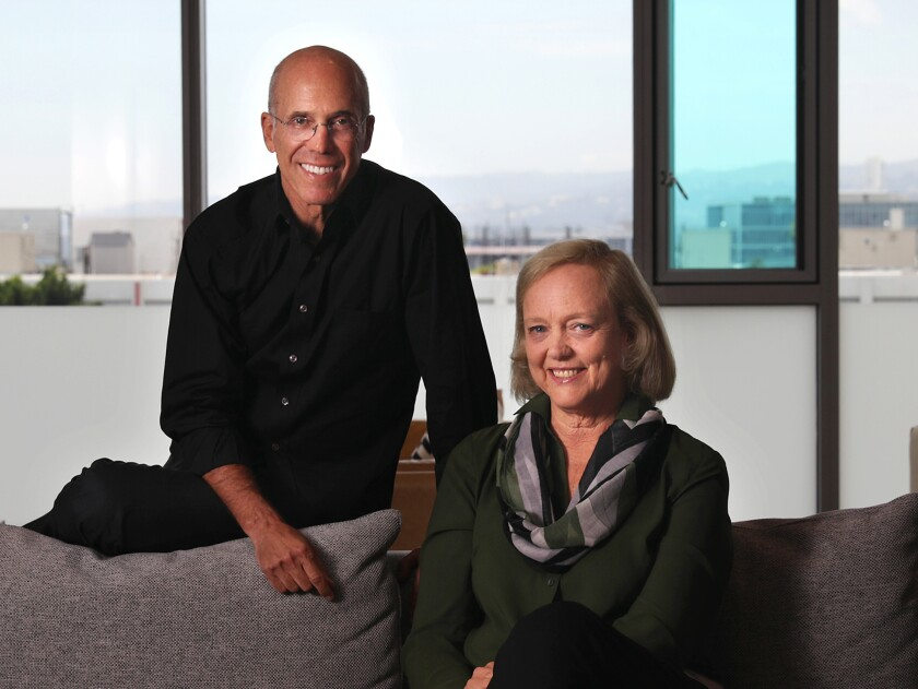 Jeffrey Katzenberg, left, and Meg Whitman of the streaming video start-up Quibi