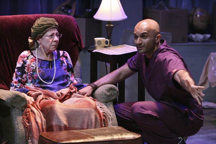 """Mindy Sterling and Usman Ally in """"The Last Act of Lilka Kadison"""" at the Falcon Theatre."""