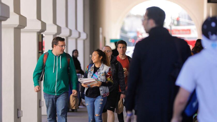 Conrad Prebys Aztec Student Union on the campus of San Diego State University is a busy place at lunchtime.