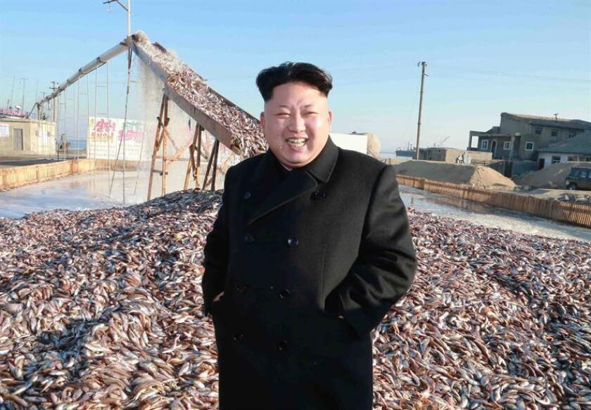 Fotografía sin fecha suministrada por la Agencia Central Norcoreana de Noticias (KCNA) que muestra al líder norcoreano Kim Jong-un mientras recorre una planta militar de procesamiento de pescado en Corea del norte. EFE/ KCNA / PROHIBIDO SU USO EN COREA DEL SUR / MEJOR CALIDAD DISPONIBLE