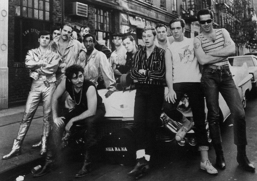 Sha Na Na pose for a publicity photo in New York City in 1969, the same year they played Woodstock, going on stage just before Jimi Hendrix closed the three-day music fest.