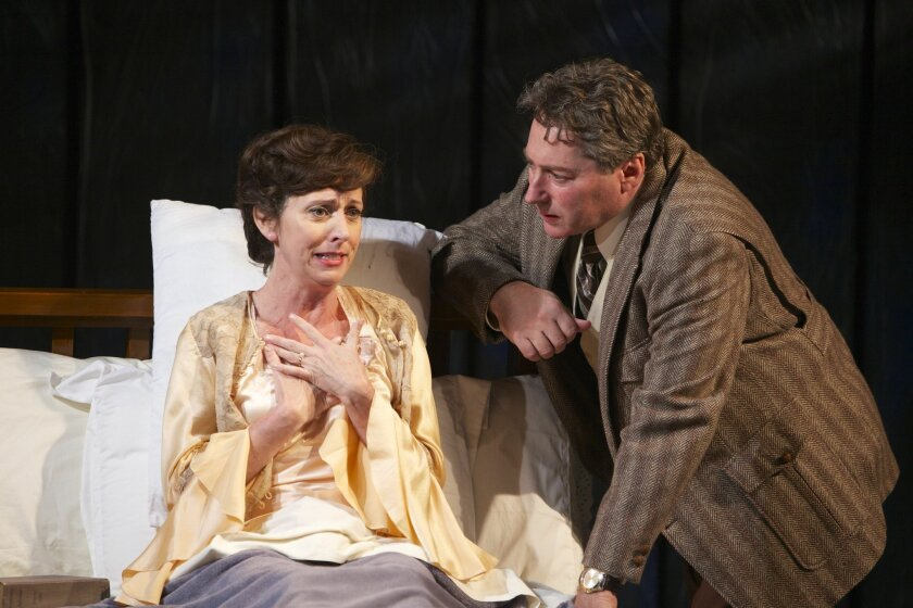 "Elaine Rivkin and David Ellenstein in the North Coast Repertory Theatre production of ""Broken Glass."""