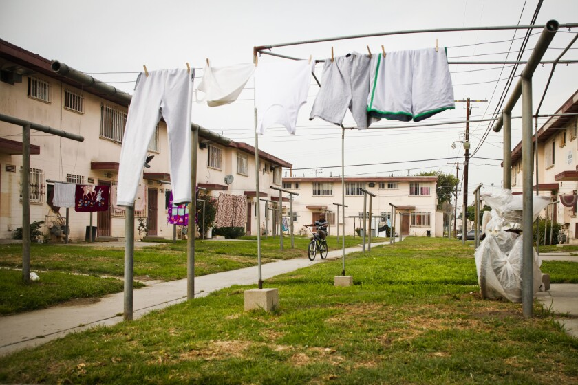 The Jordan Downs housing complex in Watts is being redeveloped and Los Angeles is receiving $12 million in state funds for the project's first phase.