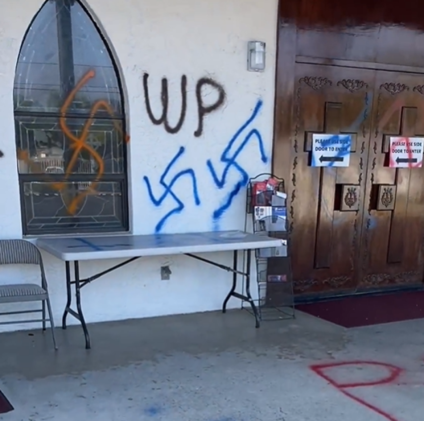 The Sheriff's Department is investigating graffiti on St. Peter Chaldean Catholic Diocese.
