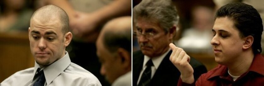 """Thomas McCauley Jr., left, appears in El Cajon Superior Court to hear his guilty verdicts read. Franco Bernal, right, checks his nails during the reading of guilty verdicts in his murder case. After the verdict for Bernal was announced, he turned to the audience and said, """"It doesn't matter. He's not coming back. Happy Thanksgiving."""" - Click to enlarge photo"""