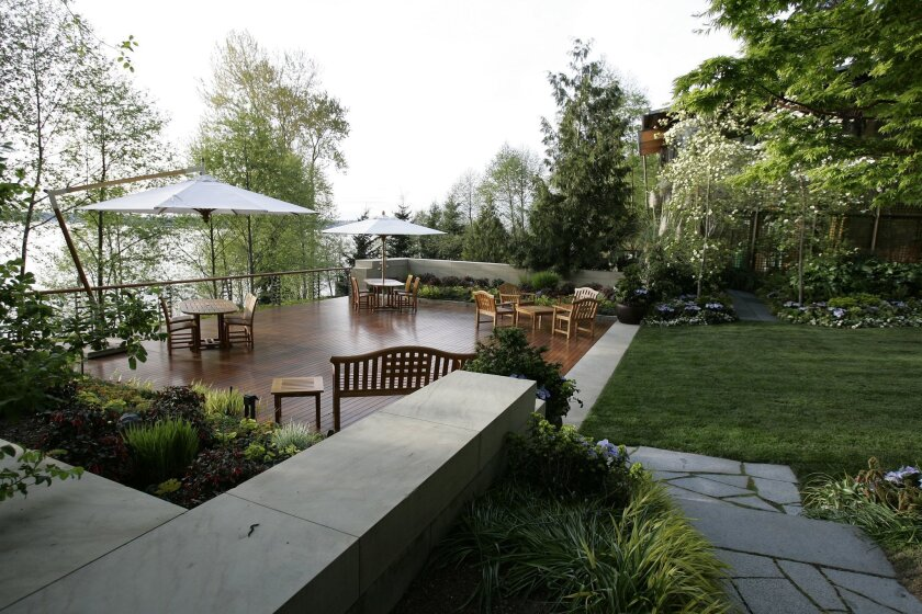FILE - This April 18, 2006 file photo shows, an outside deck at the home of Microsoft Chairman Bill Gates in the Seattle suburb of Medina, Wash., where a dinner was held inside in honor of visiting Chinese President Hu Jintao. Gates' estate near Seattle is estimated by the real-estate website Zillo