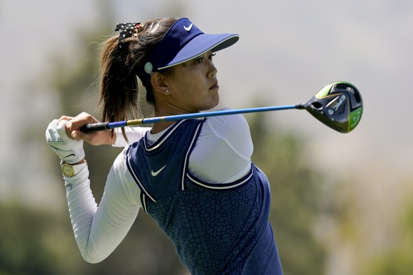 Michelle Wie, hitting a tee shot during the 2019 ANA Inspiration golf tournament, became a mother this weekend.