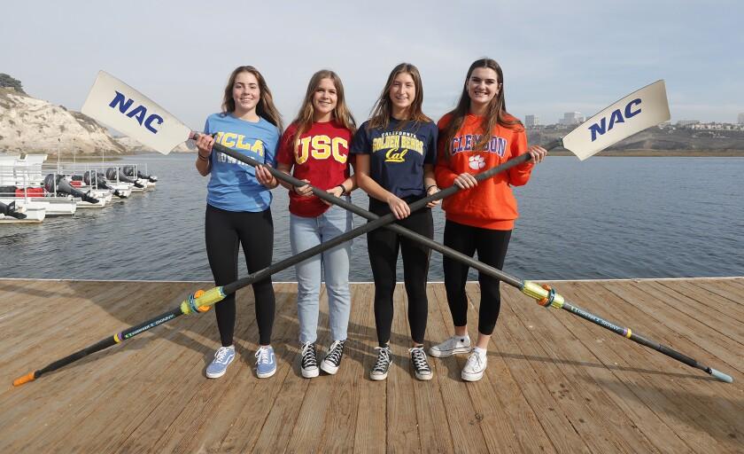 Melissa MacKenzie, Fiona Batsone, Miya Miskis and Gabby Babbin compete for the NAC women's varsity eight boat.