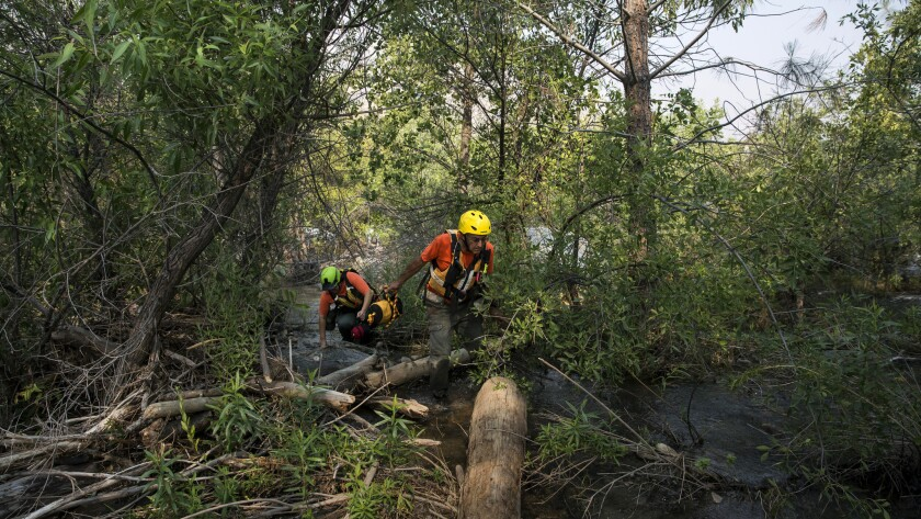 Ransom Yarger, right, and Paulina Stanfield search for a missing person in the mud and trees along t
