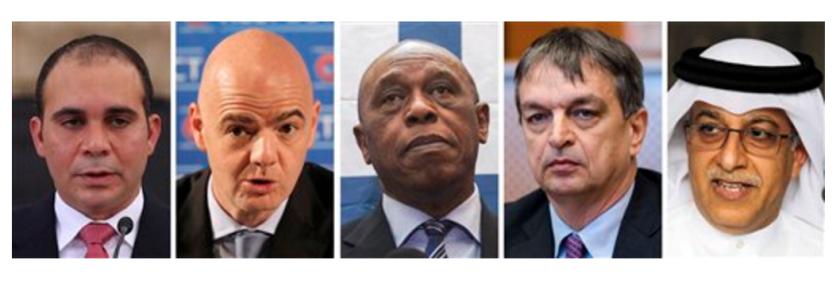 De izquierda a derecha los candidatos a la presidencia de la FIFA: el príncipe Alí de Jordania; el secretario general de la UEFA Gianni Infantino y el empresario sudafricano Tokyo Sexwale. (APFoto/File)