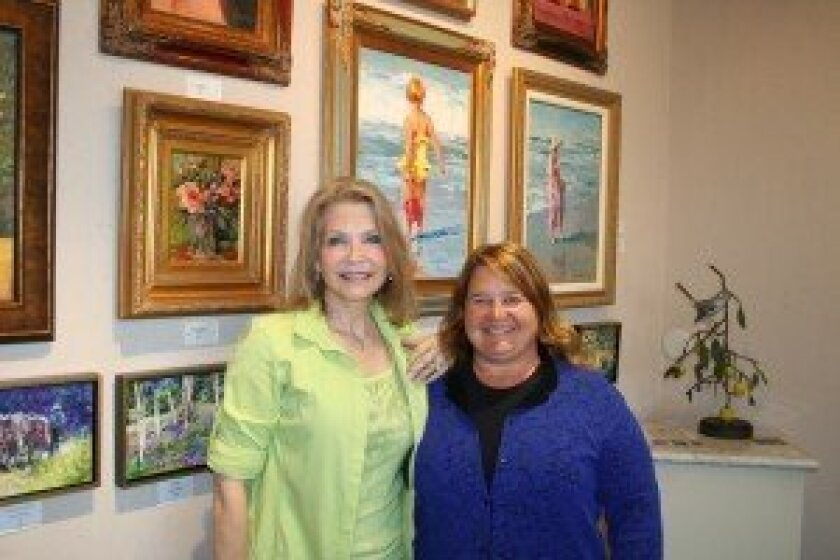 Rancho Santa Fe Art Guild Board Member Cindy Klong and President Kim Doherty are looking for a new home for the gallery. Their last day in their current village space is June 1.  Photo/Karen Billing