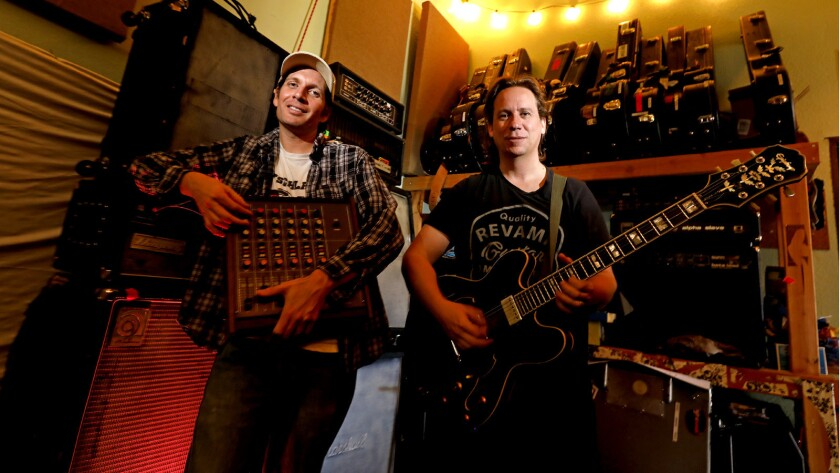 Dean Spunt, left, drummer/vocalist, and guitarist Randy Randall of the band No Age in Los Angeles, Calif.