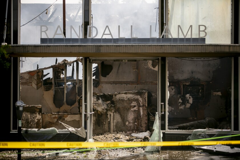 The Randall Lamb building is burnt out on May 31, 2020 in La Mesa, California. Looters smashed windows and burned buildings in the city on Saturday night as other protesters demonstrated peacefully demanding justice for George Floyd.