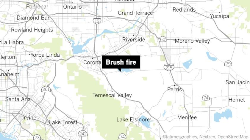 Brush fire near Lake Mathews