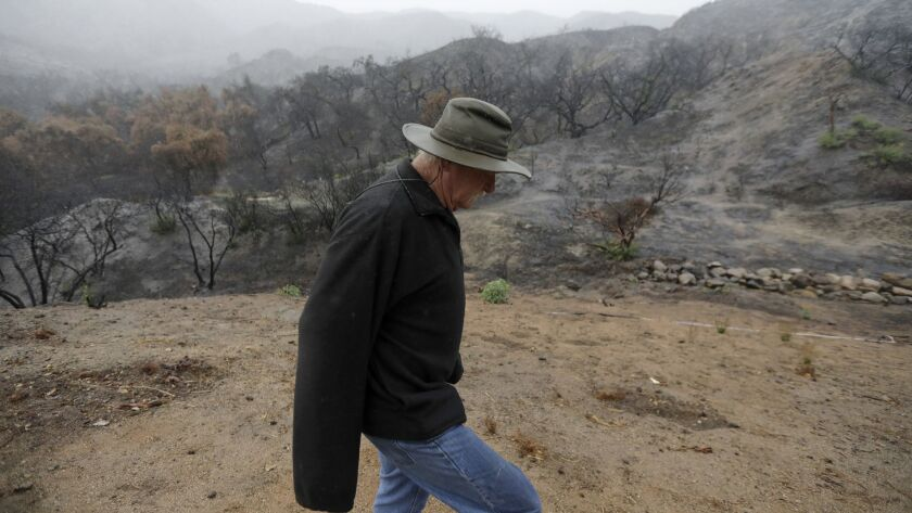 A resident walks along Thunderhead Road in the Horsethief Canyon neighborhood against a backdrop of charred hillside from the Holy fire.