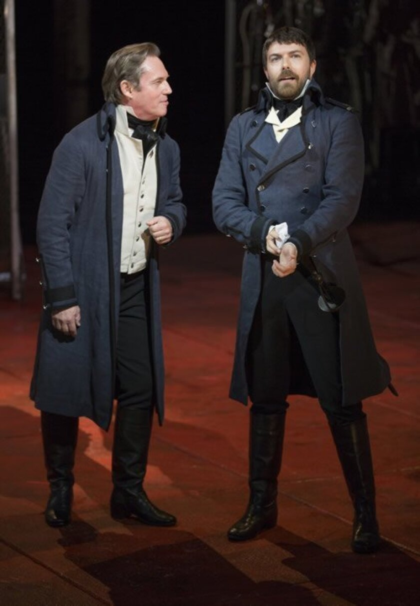 Iago (Richard Thomas) and Michael Cassio (Noah Bean) plan revenge on Othello in Shakespeare's drama directed by Barry Edelstein.  Photos by Jim Cox