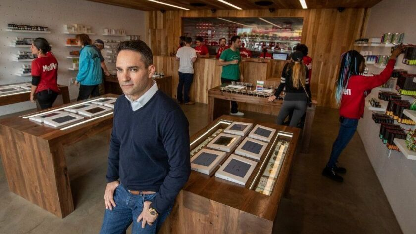 MedMen CEO Adam Bierman at the cannabis company's Venice shop. The Culver City-based company is going public, with shares set to begin trading on a Canadian stock next week. U.S. stock exchanges won't list U.S. cannabis companies.