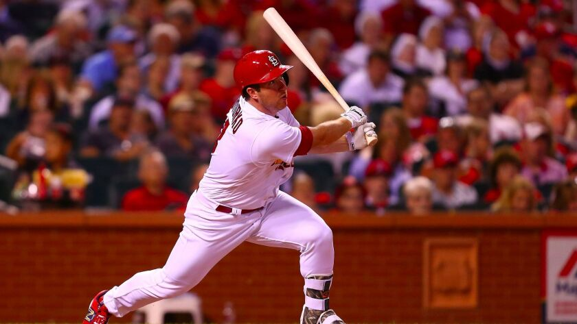 Jedd Gyorko of the St. Louis Cardinals hits an RBI double against the Pittsburgh Pirates in the sixth inning at Busch Stadium on June 25, 2017, in St. Louis, Missouri.