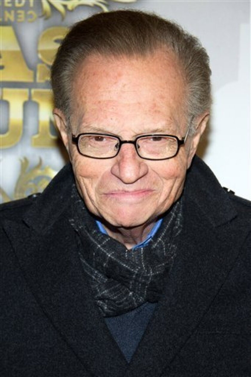 FILE - In this March 9, 2011 file photo, Larry King arrives to the Comedy Central Roast of Donald Trump in New York. (AP Photo/Charles Sykes, file)