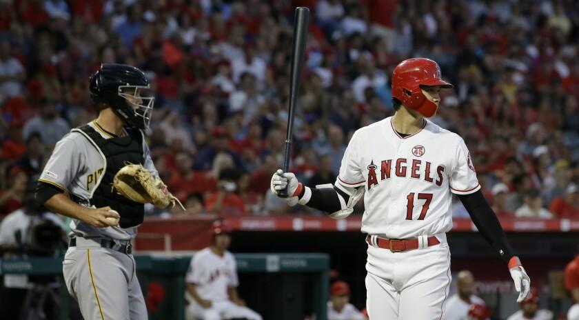 Angels designated hitter Shohei Ohtani strikes out.