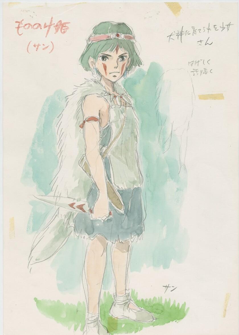 "Drawing of ""Princess Mononoke"" character San by Hayao Miyazaki"
