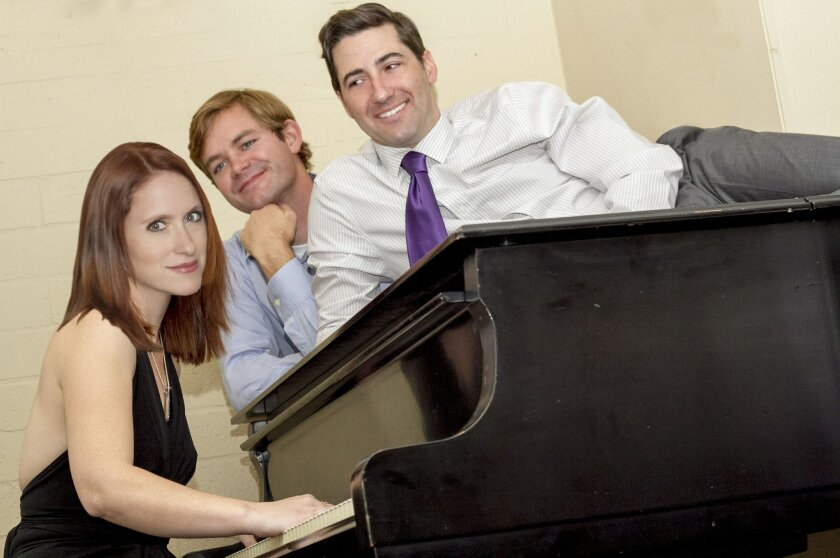 "Amanda Cooley Davis, Joshua Jones and Jonathan Maxwell (left to right) in Scripps Ranch Theatre's ""A Feminine Ending."""