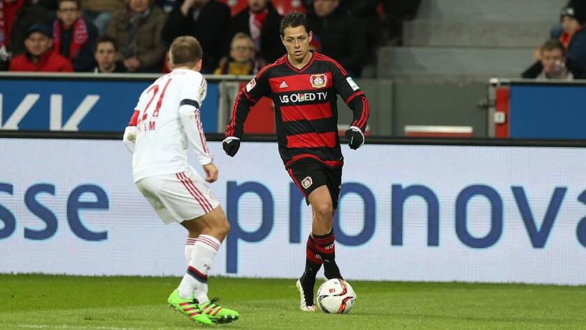 Javier 'Chicharito' Hernández (d) en un ataque del Bayer Leverkusen.